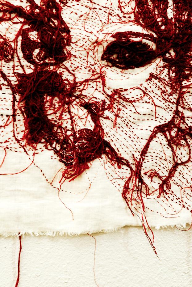 """Red Thread"", Lee Allen, detail."